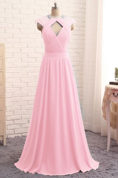 Sexy Prom Dress,A Line Prom Dresses,Sleeveless Chiffon Evening Dress,Long Evening Dresses,Pink Prom Gown ,Y0363
