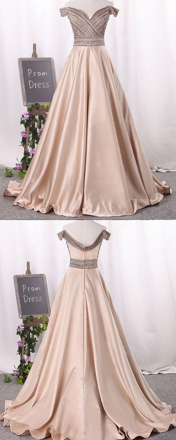 Off the shoulder beading bodice prom dress, satin brown long formal dress ,Y0367