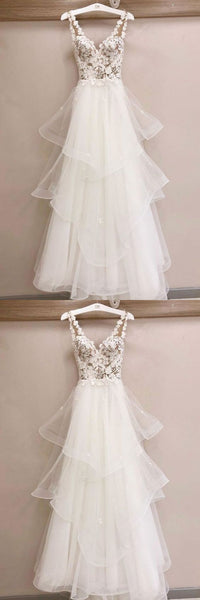 White tulle lace long prom dress, white tulle evening dress,Y0373