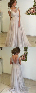 Open Back Prom Dresses A-line Short Train Long Tulle Chic Backless Prom Dress , Y0380