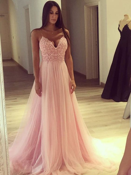 Pink V Neck Lace Beaded Halter Tulle A-line Floor Length Custom Long Evening Prom Dresses, Y0389