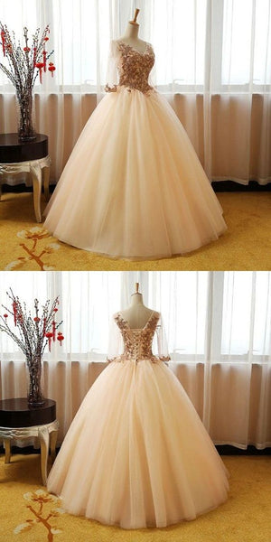 Elegant V-Neck Tulle 3/4 Sleeves Appliqued Long Prom Dresses, Y0391