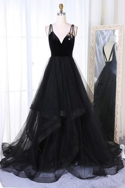 A-Line V-Neck Sweep Train Pleated Tiered Black Tulle Prom Dresses, Y0394