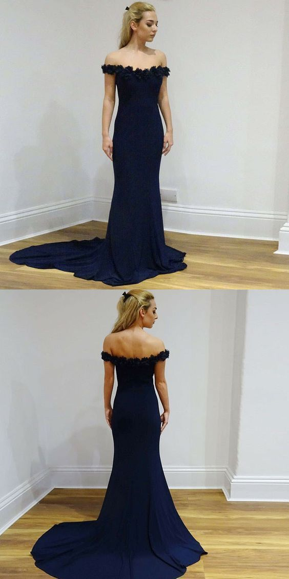 Elegant Mermaid Prom Dresses,Off-The-Shoulder Navy Blue Long Prom Dress , Evening Dress With Appliques,Off-the-shoulder Evening Gowns, Y0396