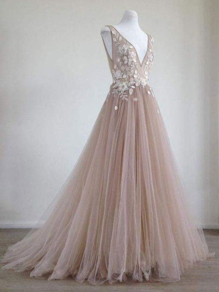 Glamorous Tulle V-neck Neckline Chapel Train A-line Prom Dresses With 3D Flowers , Y0410