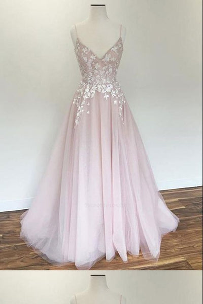 Customized Fancy Pretty Prom Dresses, Prom Dresses Pink, Prom Dresses With Appliques, Y0412