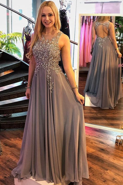 Gray Round Neck Long Chiffon Prom Dress A-Line Open Back With Beading , Y0413