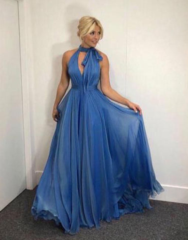 Simple v neck blue chiffon long prom dress, blue evening dress ,Y0421