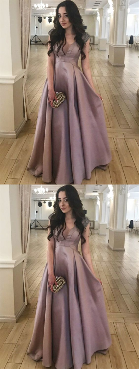A-Line Scoop Floor-Length Blush Satin Prom Dress with Beading by prom dresses, Y0424