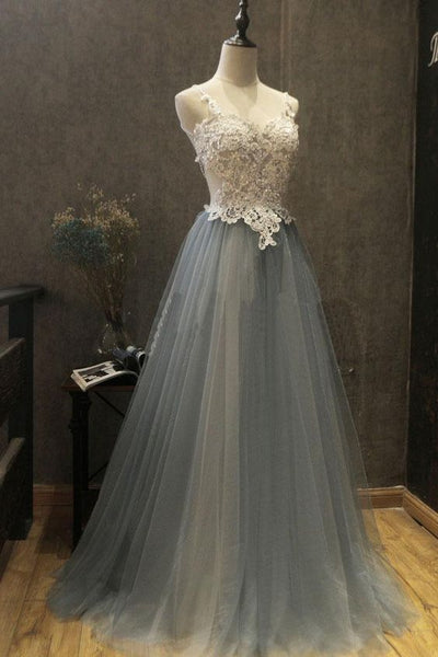 Gray sweetheart neck lace applique tulle long prom dress, gray evening dress ,Y0429
