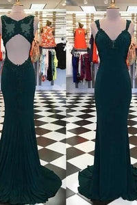Open Back Mermaid Long Prom Dress with Applique Fashion Wedding Party Dress, Y0445
