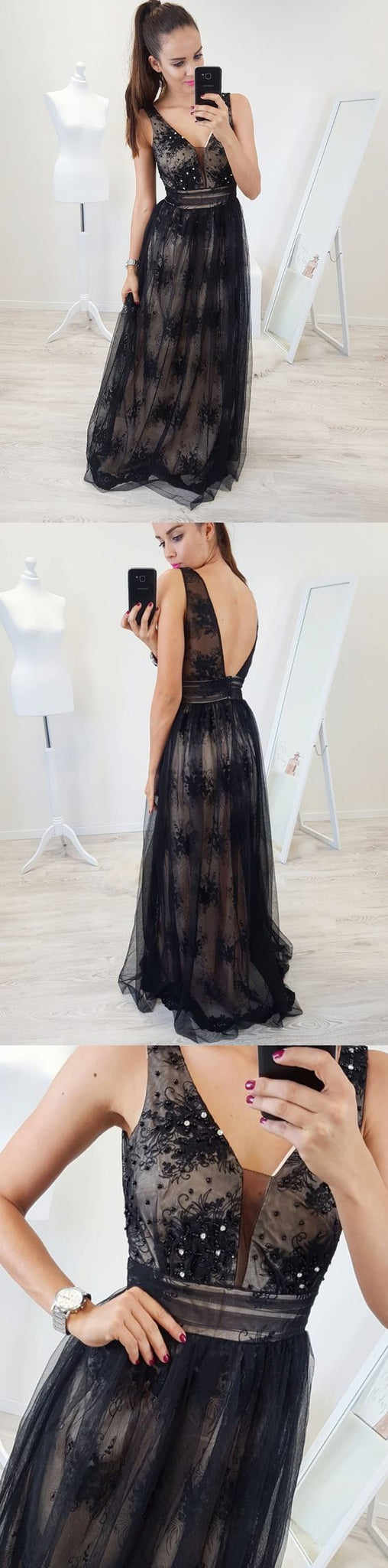A-Line V-Neck Backless Floor-Length Black Prom Dress with Appliques Beading by prom dresses, Y0448