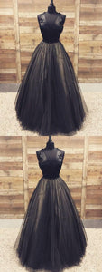 Black Prom Dresses with Straps A Line Tulle Prom Dress Long Evening Dress , Y0460