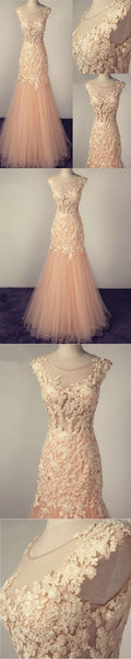 Chic Prom Dresses Scoop Trumpet Mermaid Appliques Long Prom Dress Sexy Evening Dress, Y0463