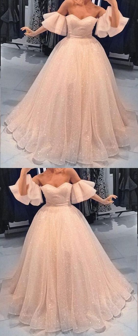 Sparkly Prom Dresses Aline Off-the-shoulder Short Sleeve Chic Long Lace Prom Dress , Y0467