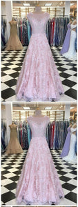 A-line Blush Pink Lace Long Prom Dresses Cap Sleeve Beautiful Evening Dresses , Y0473