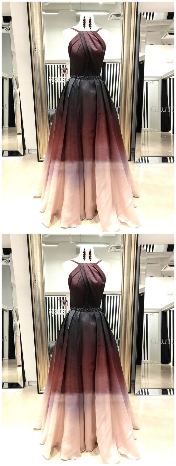 A-line Spaghetti Straps Ombre Prom Dress Cheap Vintage Prom Dresses Long Evening Dress, Y0474