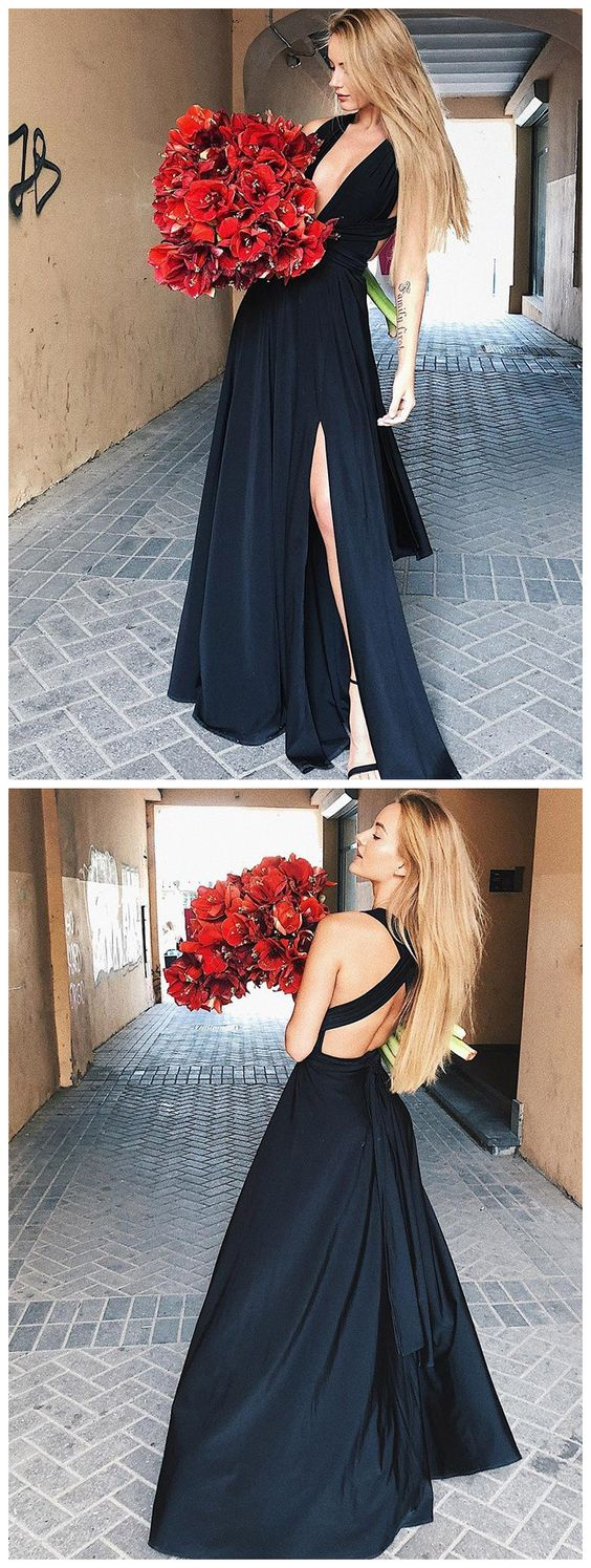 A-line Straps Black Long Prom Dresses With Silt Custom Long Prom Dresses Evening Dress , Y0480