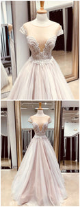 2018 Prom Dresses A-line Scoop Custom Long Prom Dresses Lace Evening Dress , Y0482