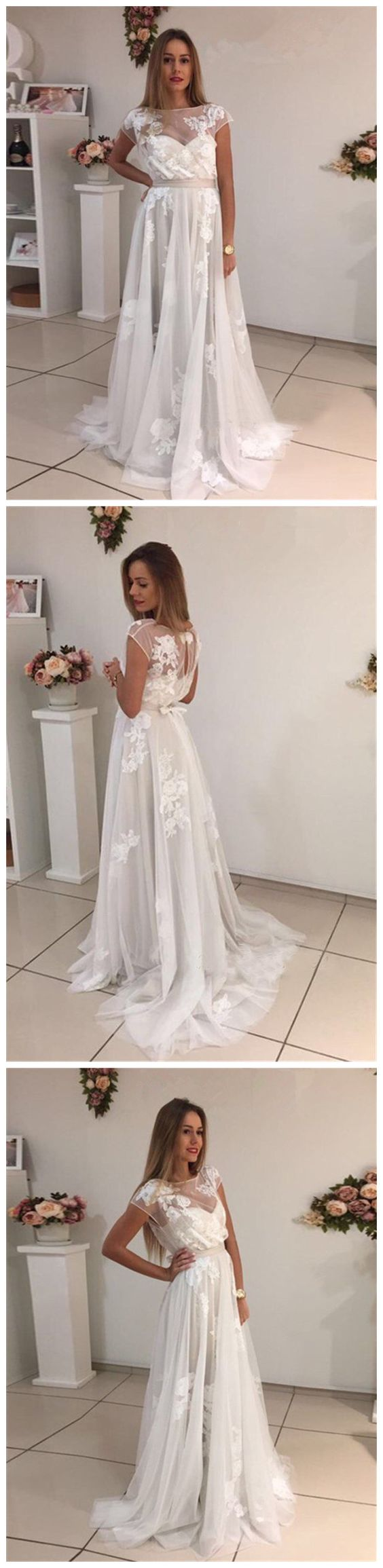 A-line Bateau Modern Lace Ivory Short Sleeve Prom Dress Modest Evening Dress  , Y0490