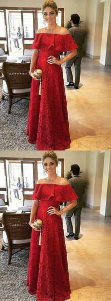 A-Line Off-the-Shoulder Red Lace Evening Prom Dress with Ruffles, Y0503