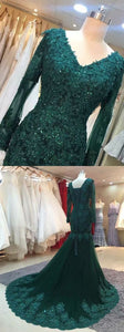chic dark green prom party dresses, fashion formal evening gowns, simple mermaid formal gowns with appliques long sleeves, Y0513