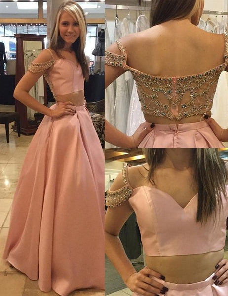 Two Piece Off-the-Shoulder Illusion Back Pink Long Prom Dress with Beading,Y0518