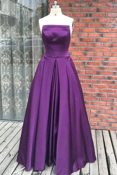 Simple Purple Satin Backless Long Prom Dress, Evening Dress, Y0539