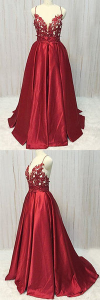 Burgundy Satin Spaghetti Straps Long Prom Dress, Lace Evening Dress, Y0541