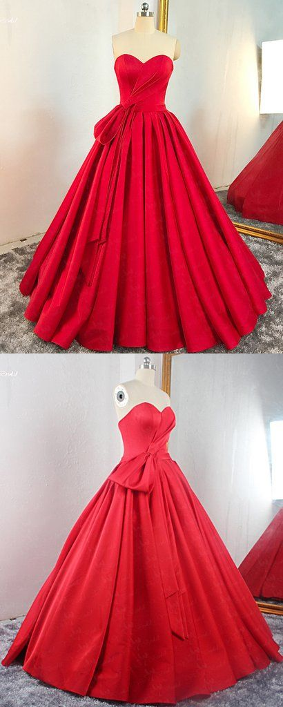 Red Satin Sweetheart Pleated A Line Prom Dress, Evening Dress, Y0547