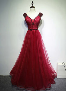 Red Tulle V neck Long Beaded Custom Made Evening Dress With Bowknot ,Y0548