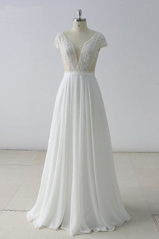 White Lace Backless V Neck Long Prom Dress, Wedding Dress With Cap Sleeve,Y0554