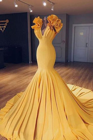 Unique yellow v neck long halter mermaid evening dress, simple long prom dress,Y0555