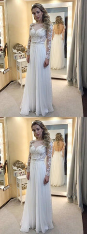 White Prom Dresses Long, Long Sleeve Party Dresses Backless, A-line Formal Dresses Lace Scoop Neck, Chiffon Evening Gowns Modest Tulle, Y0558
