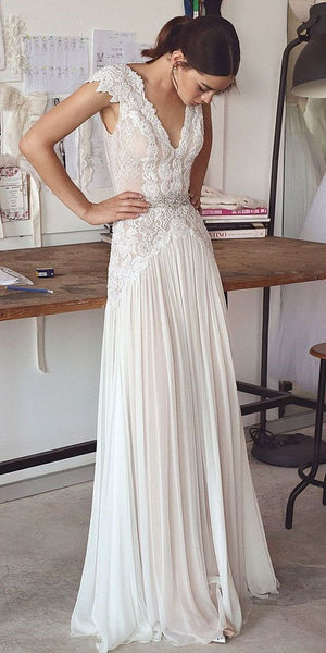 2018 Beach Boho Wedding Dresses Backless Bohemian Lace Tulle Bridal dress Gown, Y0571