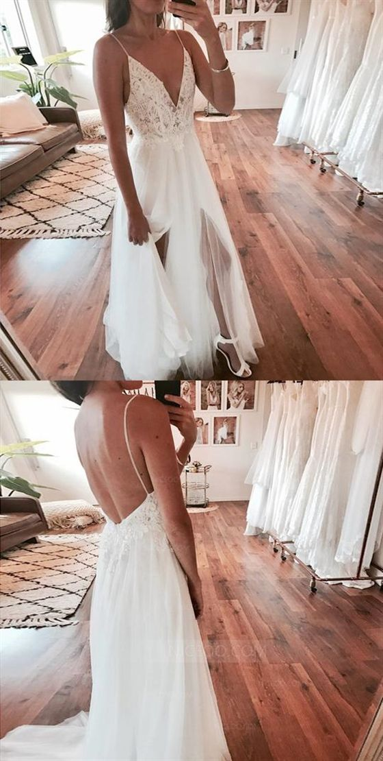 Spaghetti Strap V Neck Open Back Side Split Long Tulle Wedding Dresses Bride Gowns , Y0573