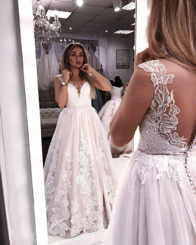 Elegant Lace A-Line Backless Applique Sleeveless Tulle Cheap Wedding Dress,Y0582