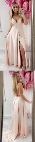 simple v neck pink long prom dress with slit, 2019 prom dress, cheap price prom dress,Y0658
