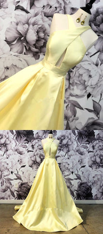 gorgeous yellow long prom dress with cross front, 2019 prom dress, graduation dress, Y0659