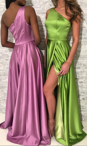 Simple One Shoulder Long Prom Dress Slit ,Y0664