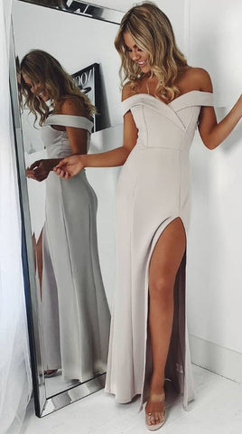 Elegant Off the Shoulder Grey Long Prom Dress with Slit, Y0665