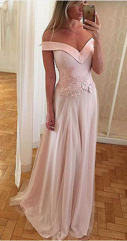 Exquisite Satin Tulle Off-the-shoulder Prom Dresses,Neckline A-line Prom,Y0666