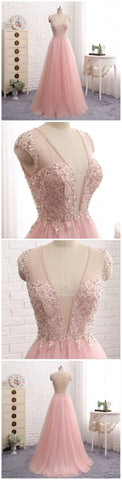 Sexy See Through Deep V Neckline Blush Pink Evening Prom Dresses, Popular Beaded Party Prom Dress, Custom Long Prom Dresses, Cheap Formal Prom Dresses,Y0668