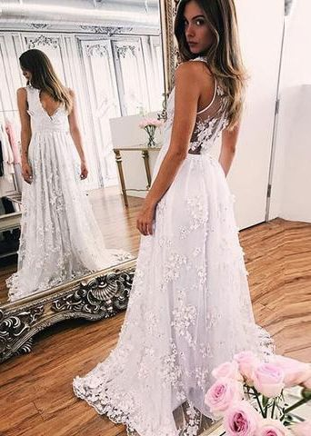 White A line V-neck Prom Dresses, White Lace Prom Dresses, Sleeveless Prom Dresses, White Chiffon Evening Dresses, Cheap Prom Dresses,prom dresses,wedding dresses,prom gowns,bridal gowns,Y0672