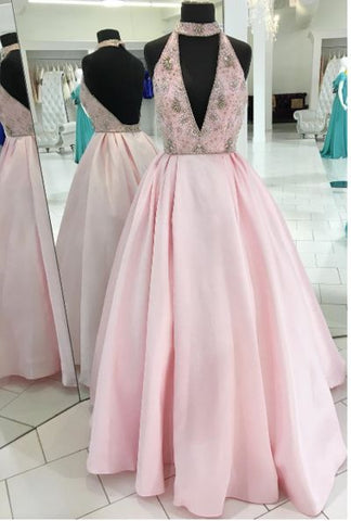 Charming V-Neck Beaded Ball Gown Prom Dress,Long Pink Evening Dress,Long Prom Dresses,Prom Dresses,Y0676