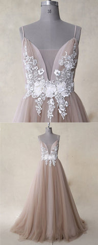 Champagne Tulle Backless Long White Lace Applique Evening Dress, Senior Prom Dress,Y0679