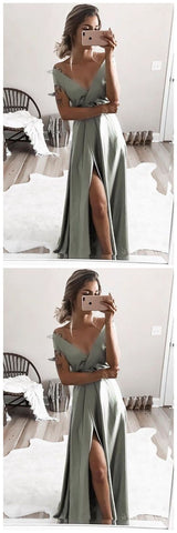 Elegant off shoulder formal evening dresses, chic split prom gowns for special occasion,Y0681