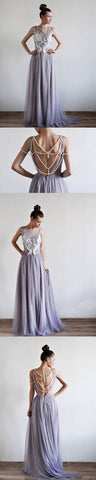 Chic a-line scoop tulle lace prom dress applique evening dresses,Y0685