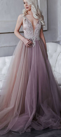 dress of extraordinary smoky purple, hand-embroidered crystals,an open back / Prom Dress, Y0689