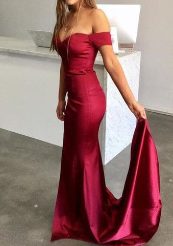 Dark Red Long Prom Dress, Off Shoulder Sexy Party Dress, Mermaid Evening Gowns, Y0694
